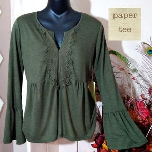 Paper Tee Bell Sleeves Olive Army Green Babydoll